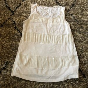 White cotton tank with white sequins